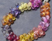 FULL Strand, 100 Pcs of Extremely Beautiful Multi Color Corundum QUARTZ,Micro Faceted Tear Drop Briolette 7mm Long aprx.