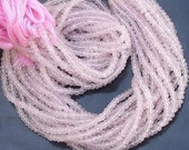 Gorgeous Quality, Full 14 Inch Long Strand Micro Faceted Rondells ROSE QUARTZ, Manufacturers Price Item