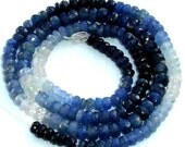14 Inch Long 100% NATURAL Shaded Blue Sapphire, 4mm Faceted Rondelles Fine Quality Wholesale Price