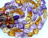2x10 Inch Long Strand, Super Shiny Amethyst and Citrine Step Cut Faceted Nuggets, 10-15mm Long size,GORGEOUS
