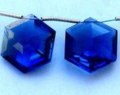 New Arrival 1 Matched Pair of 17x17mm Long AAA Iolite Blue Quartz Faceted Star Shaped Briolette (Extremely Beautiful )