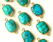 925 Sterling Silver, Natural TURQUOISE ,24K Solid Gold Plated Sterling Connector,ONE Piece of 15-16mm