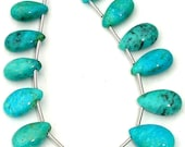 Full Strand,Extremely Rare Natural ARIZONA TURQUOISE Smooth Pear Shape Briolettes,14-15mm Long