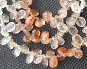 8 INCH, SUPERB Very- Very-Finest Quality, African Sunstone Faceted Pear Briolettes, 8-9mm aprx.