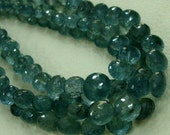 6 INCH, 110 CTS,Teal Blue Natural-Super Finest AAA Quality, Moss Aquamarine Faceted Onions Briolettes,7-8mm aprx.Super,Very Fine