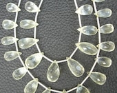 UNIQUE-7 Inach Long Strand, NATURAL CHRYSOBERYL Micro Faceted Drops Shape Briolettes, 10-15mm size.