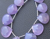 7 Inch Strand,SUPERB- LAVENDAR Chalcedony Faceted Heart Shape Briolettes,16-20mm Long.