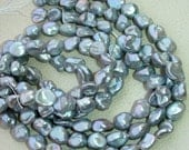SUPERB---16 Inch Long Strand,Superb-Finest-Natural- Fresh-Water, Rare SILVER Pearl Smooth Nuggets Briolettes,12-14mm Long,Superb.