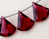 New Arrival 3 Pieces Set AAA RUBY RED Quartz Faceted Fancy shaped Briolette,16-18mm Long, (Extremely Beautiful set