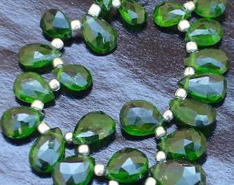 25 Pcs of High Quality Rare Russian CHROME DIOPSIDE Faceted Pear Shape Briolettes,7-10mm Long Superb Item