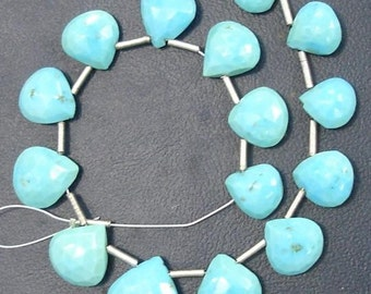 ARIZONA TURQUOISE Faceted Heart Shaped Briolettes,8-10mm size,Great Price Rare Item