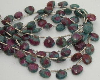 Superb-Finest RUBY ZOISITE faceted Heart Shape Briolettes 8-9mm Long,Great Price Rare Item