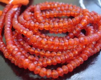 Gorgeous Mystic Carnelian faceted rondelles 14 inches strand 3.5-4mm
