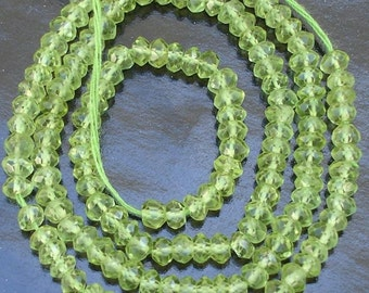 Gorgeous Quality, Full 14 Inch Long Strand Micro Faceted Rondells PERIDOT, Manufacturers Price Item