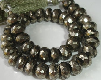 8mm Size 8-8.5 Inch Strand of High Quality Super Sparkly PYRITE FACETED RONDELLS 8mm.Nice Quality
