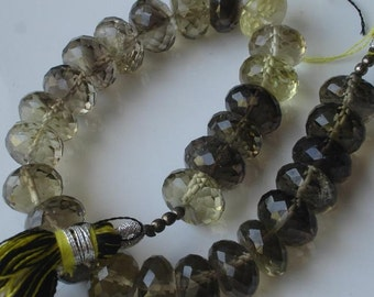 10mm Giant size,VERY-FINEST-Quality,Bi-Lemon Quartz Micro Faceted Rondells,Super fine item.
