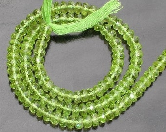 5mm, Gorgeous Finest Quality PERIDOT Micro Faceted Roundells ,Full 14 Inch Long Strand,Great Item