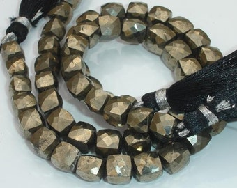 2x8 Inch,SUPERB-Very-Very-Finest Quality Pyrite Faceted 3d Cubes Box Beads,7-8mm aprx.