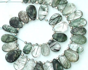Superb-Finest Green Rutilated Quartz Smooth Pear Shape Briolettes,10-12mm Long,Great Price Rare Item