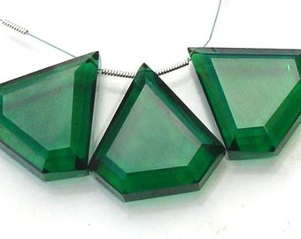 New Arrival, 3 Pieces Set of 24-24mm Long AAA EMERALD GREEN Quartz faceted Fancy Shape Briolettes,24mm size