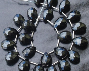 3 Matched pair of Gorgeous,Best Cut, 10X14mm, Black SPINAL Faceted Pear Shape Briolettes,Great Price