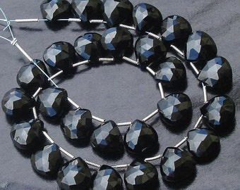 6 Matched pair of Gorgeous,Best Cut, 12X12mm, BLACK SPINEL Faceted Heart Shape Briolettes,.