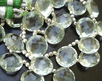 Gorgeous Item,Finest Quality GREEN AMETHYST Faceted Coin Shape Briolettes,11X11mm Coin Briolettes