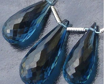 Amazing,3 Pieces Set of 20-23mm Long AAA LONDON BLUE Quartz faceted Drops Shape Briolettes