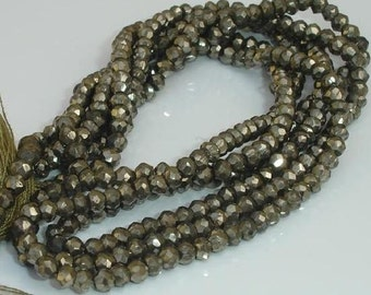 Gorgeous Mystic PYRITE faceted rondelles 14 inches strand 3.5-4mm