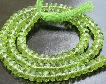5.5mm, Gorgeous Quality  PERIDOT Micro Faceted Rondells Full 14 Inch Long Strand,Very Nice Quality