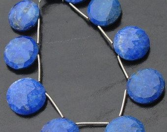 8 Inch Strand,SUPERB-Finest-LAPIS Lazuli Faceted Coin Shape Briolettes,14-17mm Round Coins,Great Item