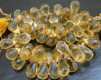 25 Pcs of Gorgeous CITRINE faceted DROPS BRIOLETTES shaped 10-12mm Long,Great price
