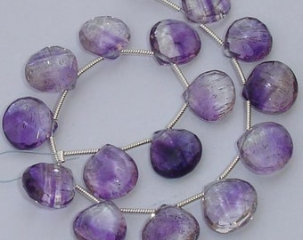 AAA Quality,Superb Finest Moss Amethyst Faceted Heart Shape Briolettes,11-12mm size,Great Price Item