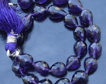 Gorgeous, Half Strand Micro Faceted African Amethyst Full Drilled Drops Briolettes,11 pcs 9-12mm,Very Nice Quality