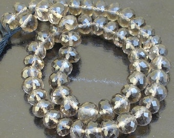 8 Inch Strand,Super Quality-SMOKY Quartz Faceted Rondells,6-7mm size Super AAA Quality Rondells.