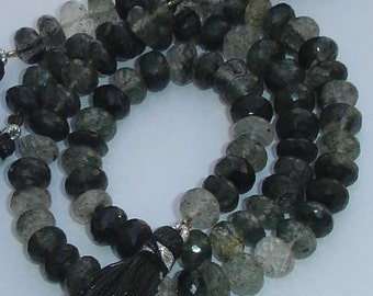 8 Inch Strand,Natural Black Moss Jade,Micro Faceted Rondells,7mm size rondells,very finest quality