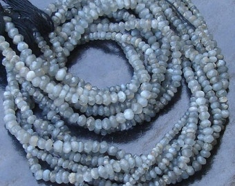 Latest Arrival, GREY MOONSTONE,Full 14 inch Strand Of Manufacturer Price Rondells , Machine Cut Quality Full 14 Inch Long Strand