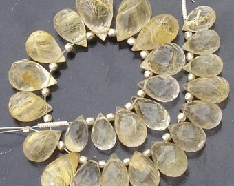 AAA GOLDEN RUTILATED Quartz, Micro Faceted Drops Shape Briolettes,9-12mm size,15 Rare Pieces