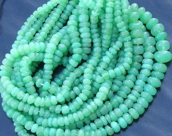 Full Strand,CHRYSOPRASE SMOOTH RONDELLS Size Of 4mm .14 Inch Strand, Very Nice Quality  Smooth Rondells.