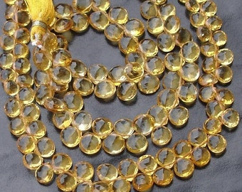 SUPERB-Finest Quality CITRINE Faceted Heart Shape Briolettes,6-7mm size,Great Price Item