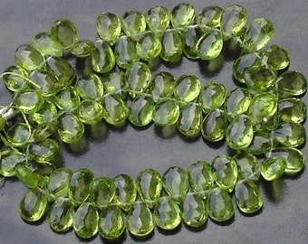 Finest-Quality-PERIDOT Faceted Pear Shape Briolettes,Great Price,7-8mm Long aprx.Superb Item