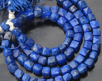 10x10 Inch,AAA Quality,Full Strand, LAPIS LAZULI Faceted 3D Box Shape Beads, 6-7mm Long, Great Price Item