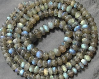 Huge Size, 6-8mm Size, 9 Inch Strand OF RARE Blue Flashy Labradorite Faceted Rondells,Great Item