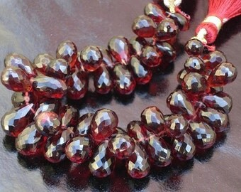 Mozambique Garnet,Micro Faceted Drops Shaped Briolettes,15 pieces,8-9mm aprx.,VERY-VERY-FINEST