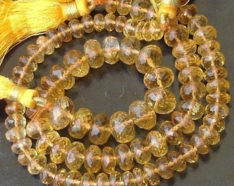 8 Inch Strand,6-7mm, GORGEOUS QUALITY CITRINE Micro faceted rondelles 8 inch strand fine quality great price, it is a gorgeous quality