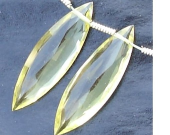 AAA Quality, 25mm Long GREEN LEMON Quqrtz  Faceted Rlongated Marquise Shape Briolettes Matched Pair,