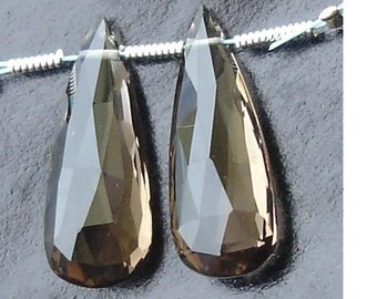 AAA Quality, 21mm Long SMOKY Quartz Faceted ELONGATED Pear Briolettes- Amazing Matzhed Pair