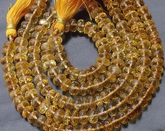 6-7mm  Full Strand, Gorgeous Quality CITRINE Micro faceted rondelles .fine quality great price, it is a gorgeous quality