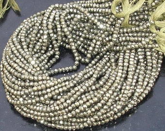 Latest Arrival, PYRITE,Full 14 inch Strand Of Manufacturer Price Rondells , Machine Cut Quality Full 14 Inch Long Strand