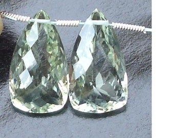 3 pairs,AAA Quality, 20mm Long Green AMETHYST Faceted ELONGATED Trillion Shape Briolettes Matched Pair.